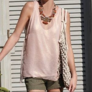 Anthro Deletta Rose Gold Sheer Layer Side Tie Top